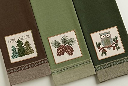 Design Imports Mountain Pine Cotton Table Linens, Dishtowel 18-Inch by 28-Inch, Set of 3, 1 I Pine Fir You Embellished, 1 Pinecone Sprig Embellished and 1 Cascade Owl Embellished