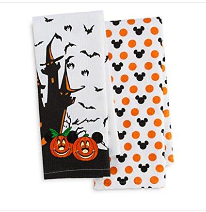 Disney Parks Mickey Minnie Mouse Pumpkin Halloween Kitchen Dish Towel Set of 2