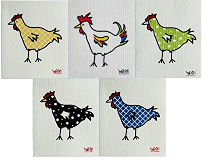 Wet-It Swedish Dishcloth Set of 5 (Chickens and Rooster)