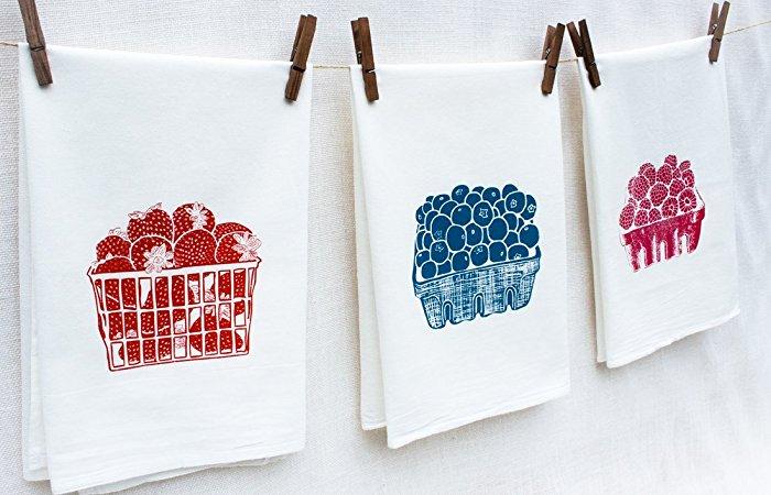 Set of Three Berry Floursack Kitchen Towels