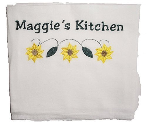 Custom Embroidered and Personalized Flour Sack Kitchen Towel with Sunflower Embroidery Design