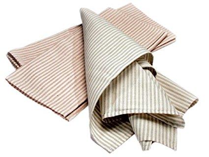 LIFEKIND Certified Organic Cotton Striped Sage Kitchen Towels, Set of 2