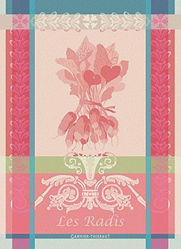 Garnier Thiebaut, Les Radis (Radishes) Rose Woven French Kitchen / Tea Towel, 100 Percent Cotton