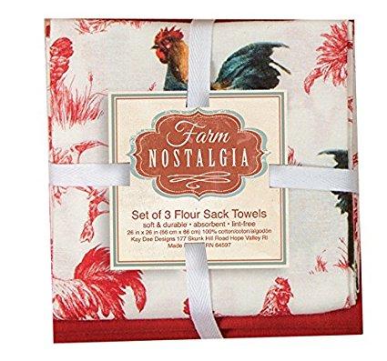 Kay Dee Designs A8326 Farm Nostalgia Flour Sack Towels (Set of 3)