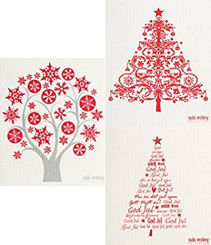 Swedish Dishcloth - Set of 3 HOLIDAY Christmas Trees (NY) in Mostly RED