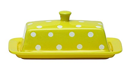 Creative Co-op Stoneware Covered Butter Dish Yellow With Polka Dots -Kitchen Decoration