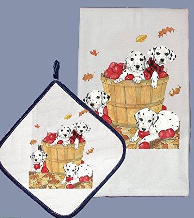 Pipsqueak Productions DP864 Dish Towel and Pot Holder Set - Dalmatian Apples