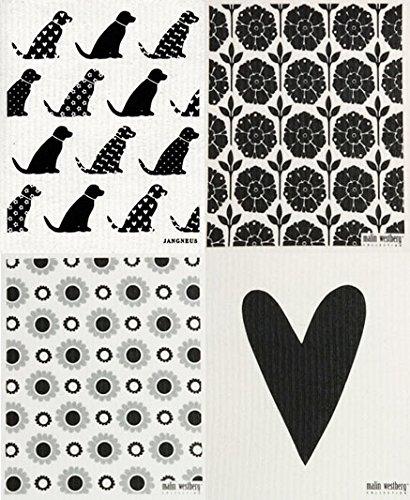 Swedish Dishcloth, Set of 4 Grey/Black Dogs + (WL)