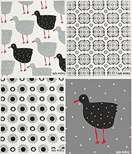Swedish Dishcloth, Set of 4 Black & Grey (WH)