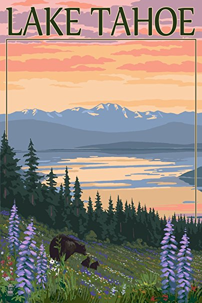 Lake Tahoe - Bear Family and Spring Flowers (16x24 Giclee Gallery Print, Wall Decor Travel Poster)