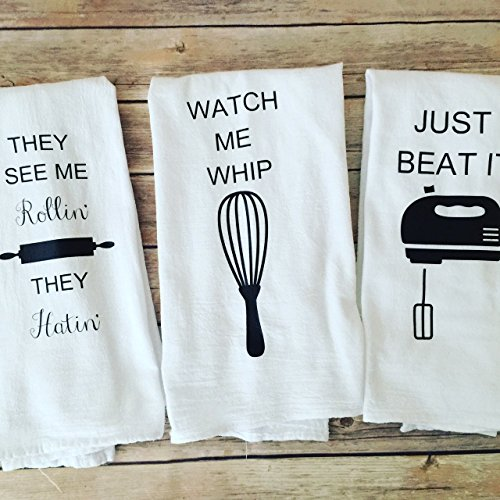Custom Song Lyric Tea Towels - Kitchen Towels Set of 3, Foodie Gift, Watch me whip, Just Beat it , They see me rolling