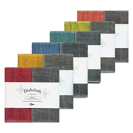 IPPINKA Nawrap Assorted Bichotan Charcoal Dishcloth Set, Set of 6, Surprise Colors