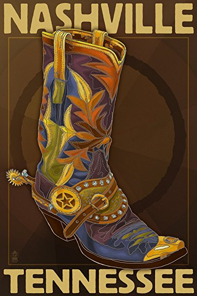 Nashville, Tennesseee - Boot (36x54 Giclee Gallery Print, Wall Decor Travel Poster)