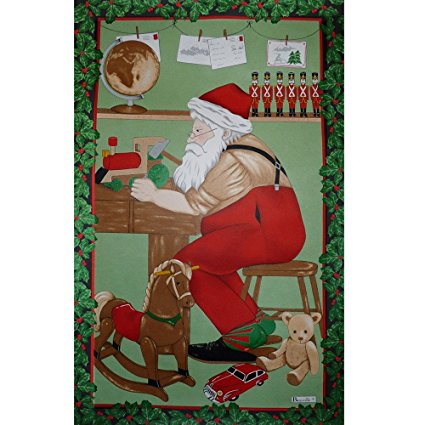 Beauville France, Atelier Du Pere Noel (Father Christmas's Workshop) French Holiday Kitchen / Tea Towel, Silk Screen Hand Printed, 82% Cotton / 18% Linen, 20