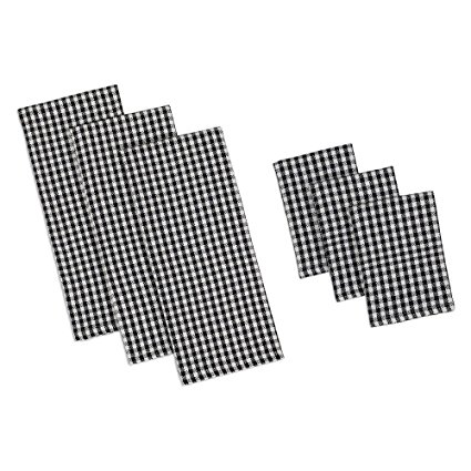 Design Imports Black Check Heavyweight Dishtowel Set