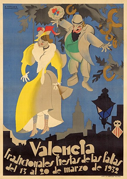 Spain - Valencia - Fiestas de las Fallas - (artist: Vercher, A. c. 1932) - Vintage Advertisement (36x54 Giclee Gallery Print, Wall Decor Travel Poster)