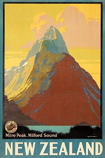 New Zealand - Mitre Peak Vintage Poster (artist: Mitchell, Leonard E.) New Zealand c. 1935 (16x24 Giclee Gallery Print, Wall Decor Travel Poster)