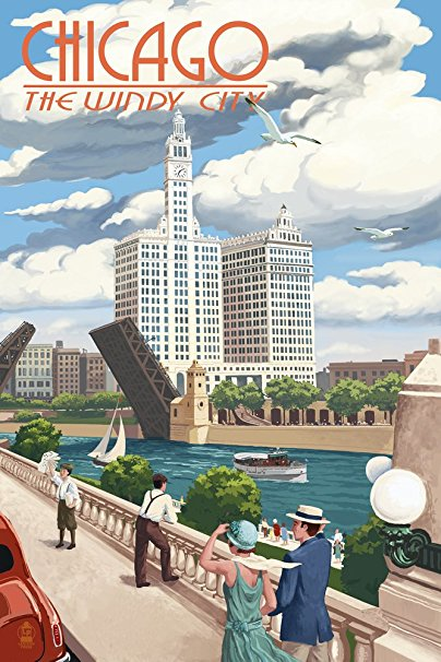 Chicago, Illinois - River View (24x36 Giclee Gallery Print, Wall Decor Travel Poster)