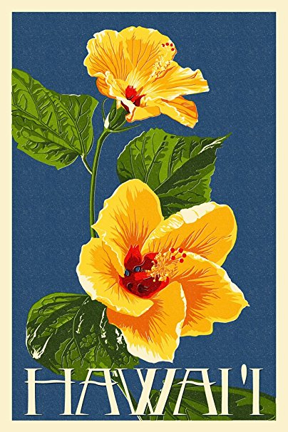 Hawaii - Yellow Hibiscus Flower Letterpress (36x54 Giclee Gallery Print, Wall Decor Travel Poster)