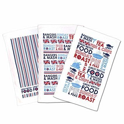 Country Club British Menu 3 Pack Tea Towel