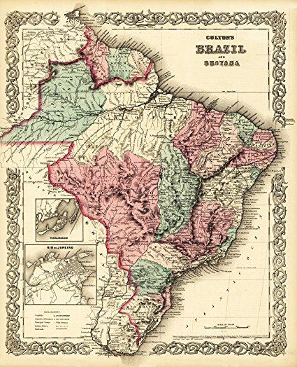 Brazil and Guayana - (1871) - Panoramic Map (36x54 Giclee Gallery Print, Wall Decor Travel Poster)