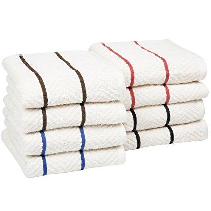 Bedford Home 8 Piece 100% Cotton Chevron Terry Kitchen Towel Set