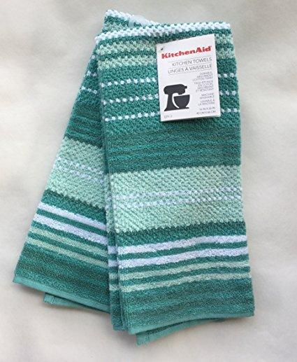 KitchenAid 100% Cotton Kitchen Towels Aqua Blue Turquoise Stripe 2 Pack