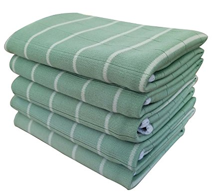 Gryeer Kitchen Dish Towels, 5 Pack - Bamboo and Microfiber with Classic Stripe Design -16