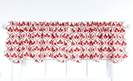 Stylemaster Home Products Twill and Birch Mayfair Lined Embroidered Scalloped Valance, 52 by 17-Inch, Crimson