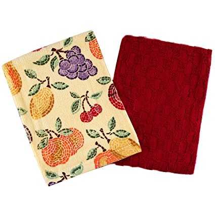 Red Checkered and Fruity 5 Piece Cotton Kitchen Towel Set