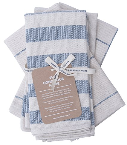 Kitchen Towels Cotton Dish Cloths| Eco-Friendly Kitchen Towel Set Upcycled Denim Cotton Tea Towels | Soft and Super Absorbent, Premium Quality | Natural and Blue,| 4-Pack, 20 x 28 in.