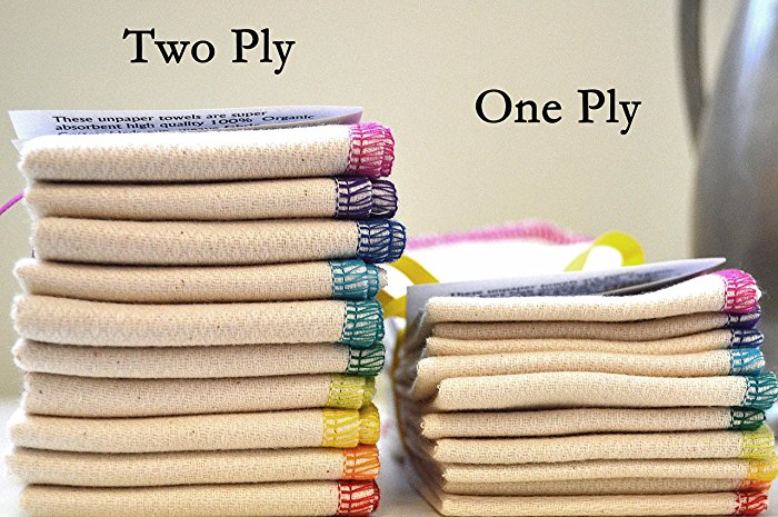 Large Paperless Towels Made from Organic, White, or Unbleached - 14x14 inches 2PLY-Set of 10 With YOUR CHOICE of colored edges