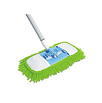 Quickie Microfiber Dust Mop (060) Green, 48 Inch Steel Handle, Each (Handle May Vary), 4-Pack