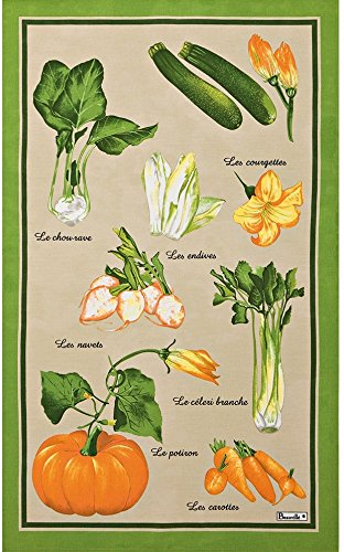 Beauville, Marché (Farmer's Market) French Kitchen Towel, Silk Screen Hand Printed, 82% Cotton / 18% Linen, 20