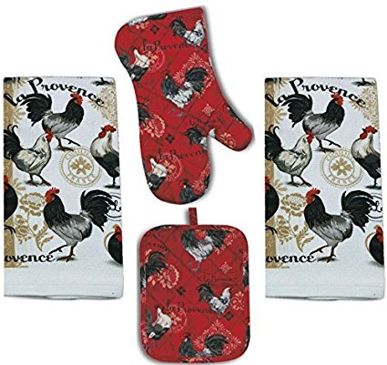 4 Piece La Provence Kitchen Set - 2 Terry Towels, Oven Mitt, Potholder