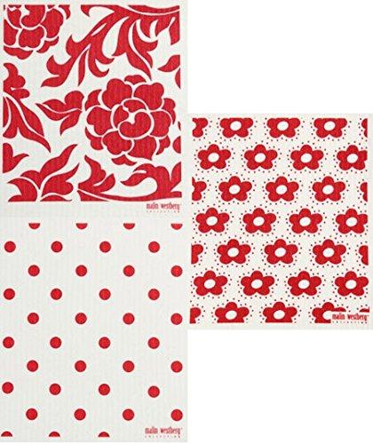 Swedish Dishcloth, Set of 3 RED (RF) Designs