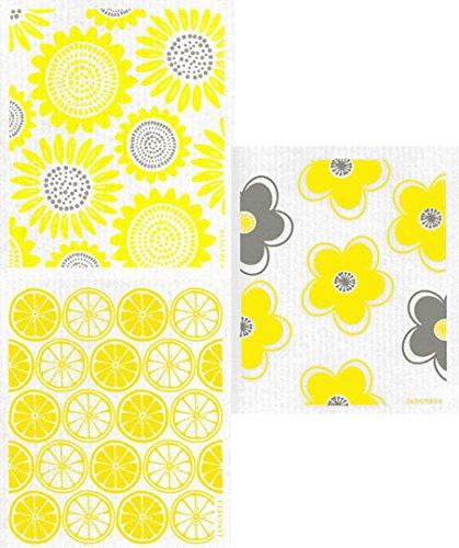 Swedish Dishcloth - (YO) Set of 3 YELLOW Sunflowers, Flowers, Citrus