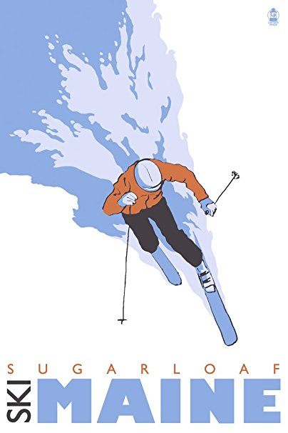 Stylized Skier - Sugarloaf, Maine (36x54 Giclee Gallery Print, Wall Decor Travel Poster)