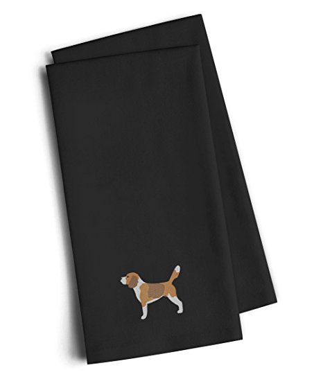 Caroline's Treasures BB3410BKTWE Beagle Black Embroidered Kitchen Towel (Set of 2), 28