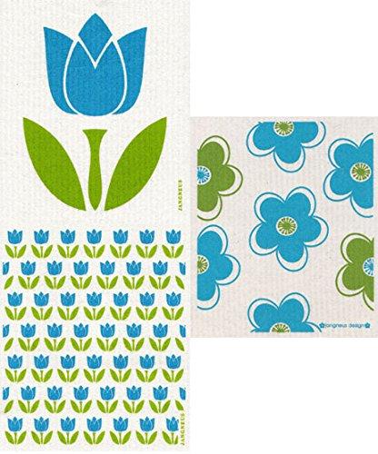 Swedish Dishcloth, (JK) Set of 3 Tulips/Flowers - TURQUOISE