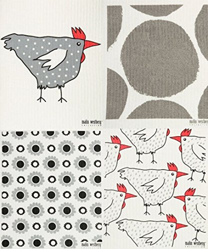 Swedish Dishcloth, (BB) Set of 4 GREY with Chickens, Hens +