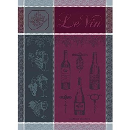 Garnier Thiebaut, Le Vin (Wine), Syrah, Woven Kitchen / Tea Towel, 100% two-ply twisted cotton Cotton, Made in France