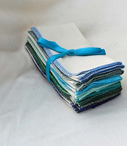 Paperless Towels, 1-Ply, Made from Organic Birdseye Fabric - 11x12 inches (28x30.5 cm) Set of 10 in Assorted Blues and Greens