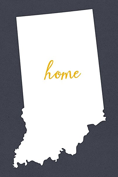 Indiana - Home State - White on Gray (36x54 Giclee Gallery Print, Wall Decor Travel Poster)