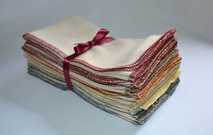 NEW!!! Paperless Towels, 1-Ply, Made from Organic Cotton Birdseye Fabric -14x14 inchs. Set of 10 in Earthtones