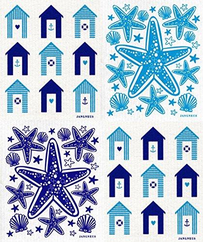 Swedish Dishcloth - (TQ) Set of 4 Turquoise & Blue - Cabanas, Boats, Tulips +