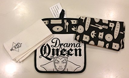 Disney Park Wicked Drama Queen from Snow White Kitchen Towels Potholder Set NEW
