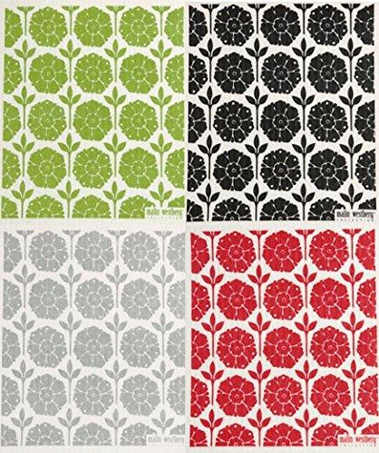 Swedish Dishcloth, Set of 4 Garden (GA) Designs