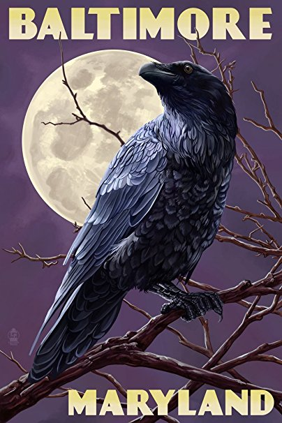 Baltimore, Maryland - Raven and Moon Purple Sky (36x54 Giclee Gallery Print, Wall Decor Travel Poster)
