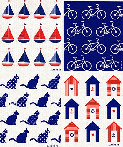 Swedish Dishcloth, (BL) Set of 4 BLUE & RED Cabana, Boats, Bikes, Cat